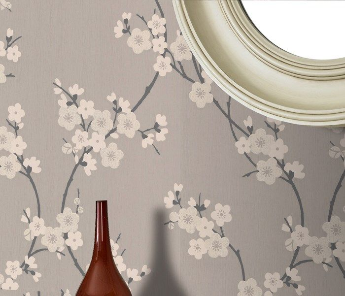 Fleur de cerisier Taupe / Papier peint Gris anthracite par Graham and Brown