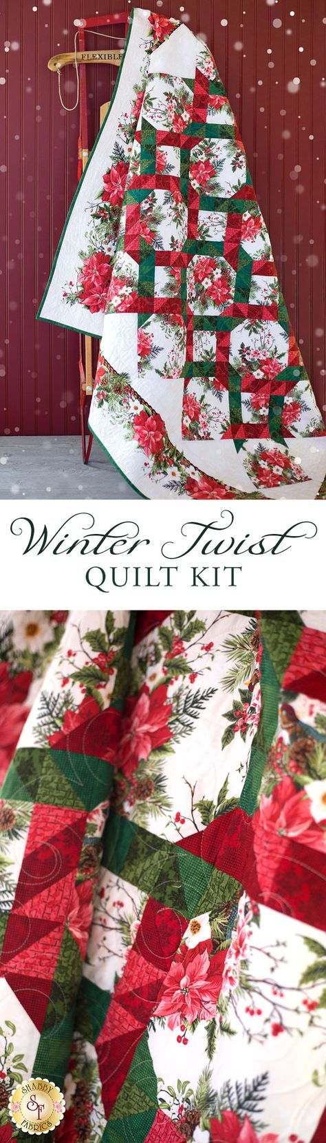 """Winter Twist Quilt Kit Bring the spirit of the season and all its splendor to your home with the Winter Twist Quilt! This gorgeous pieced quilt features the rich reds of poinsettias intertwined with deep shades of evergreen for a dynamic, eye-catching look! Quilt finishes to approximately 64"""" x 75"""". A beautiful coordinating Table Runner Kit and Winter Twist Kaleidoscope Quilt Kit are also available!"""