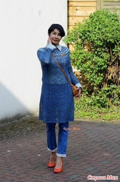 Голубое платье в филейной технике для сестры