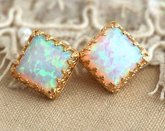 White Opal earrings Gold stud, Opal earrings, Gold Lace setting, Gift for Woman - 18 k Gold filled Crown settings October birth stone