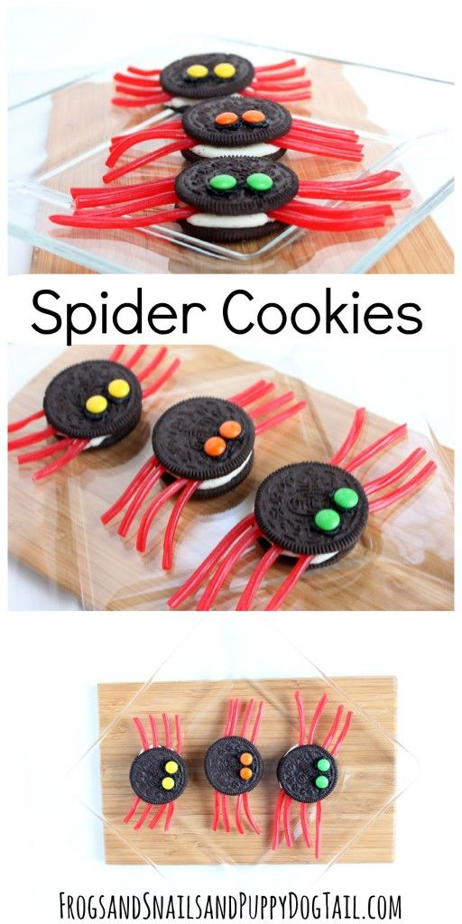 fun spider cookies for Halloween party. Fun Halloween food.