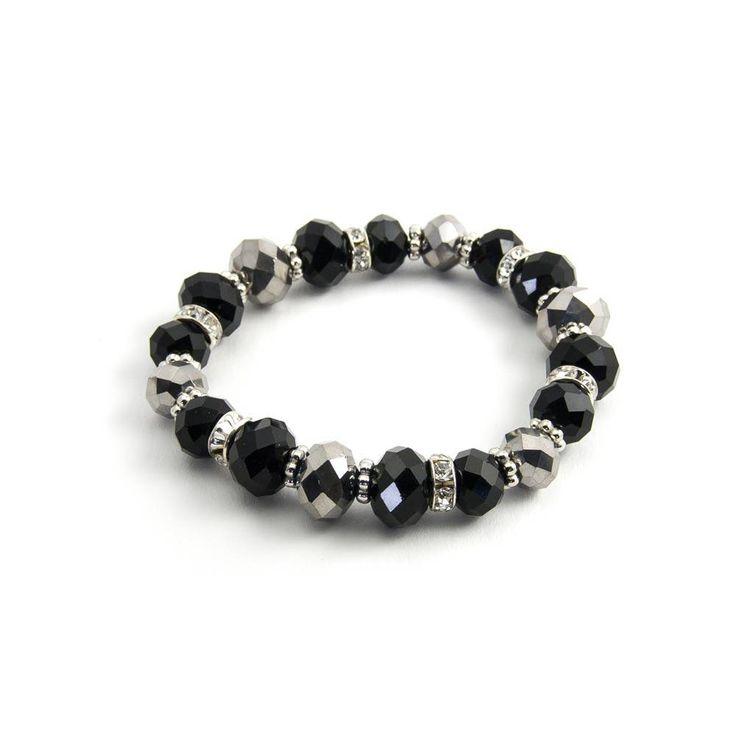 Aurora Patina Zwarte kristal armband met strass