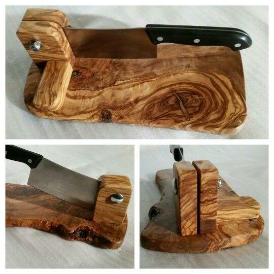 Handmade olive wood biltong cutter slicer