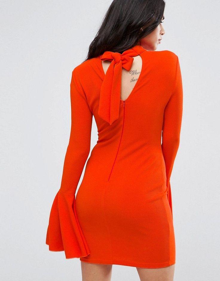 AX Paris Flute Sleeve Midi Dress With Open Back - Orange