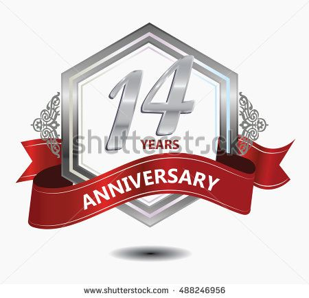 14 years anniversary hexagonal style logo with silver combination red ribbon. anniversary logo for celebration, birthday, wedding, party. anniversary logo 14th
