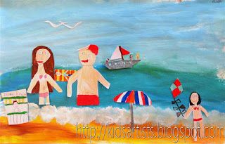 Kids Artists: On the beach - collage