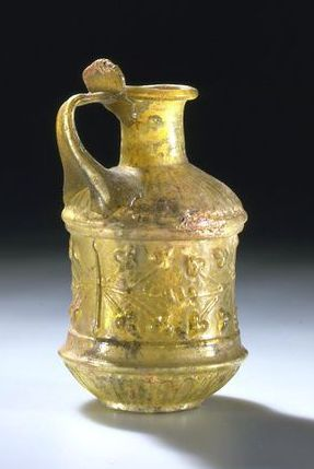 Roman jug from Sidon 1st century. THE VICTORIA AND ALBERT MUSEUM. Ancient Glass Blog of the Allaire Collection.