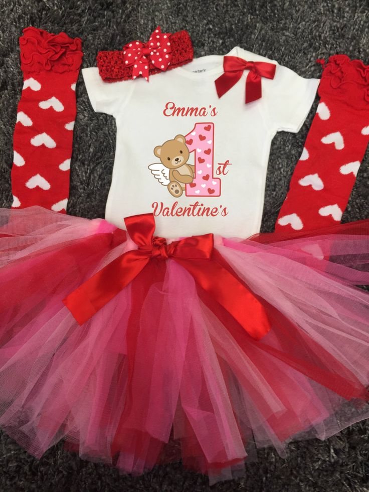 Personalized 1st Valentineu0027s Day Outfit Baby Girl First Valentineu0027s Day  Tutu Outfit With Cupid Red Heart