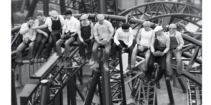 To celebrate the completion of The Smiler roller coaster at Alton Towers, some of the workers recreated a famous photo from the 30's...