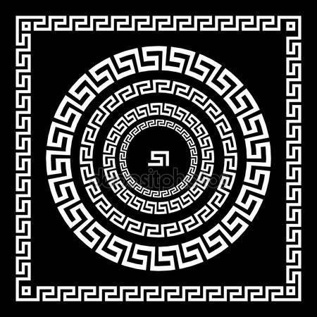 Ornamento greco. Meandro di ornamento del cerchio. Telaio rotondo, Rosetta di elementi antichi. Modello rotondo antico nazionale greca, vector. Impulso rettangolare. confine — Illustrazione stock #122897192