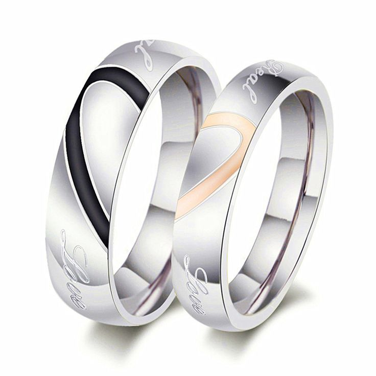 Stainless Steel His and Hers Spilt Heart Rings