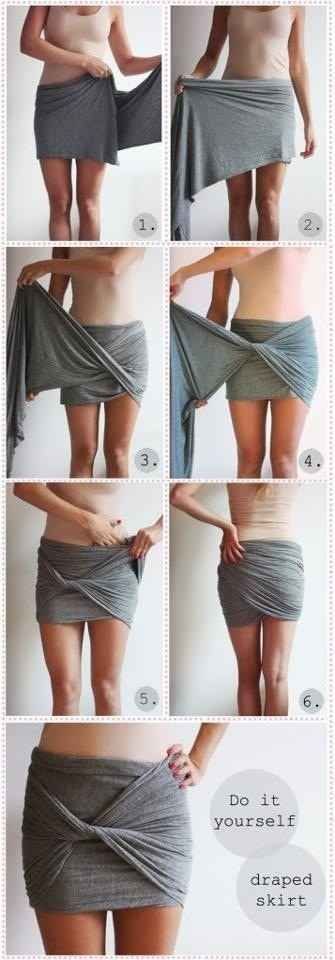 O segredo desta saia está na forma de enrolar. | 41 reformas de roupas incrivelmente fáceis e sem costura que você pode fazer em casa