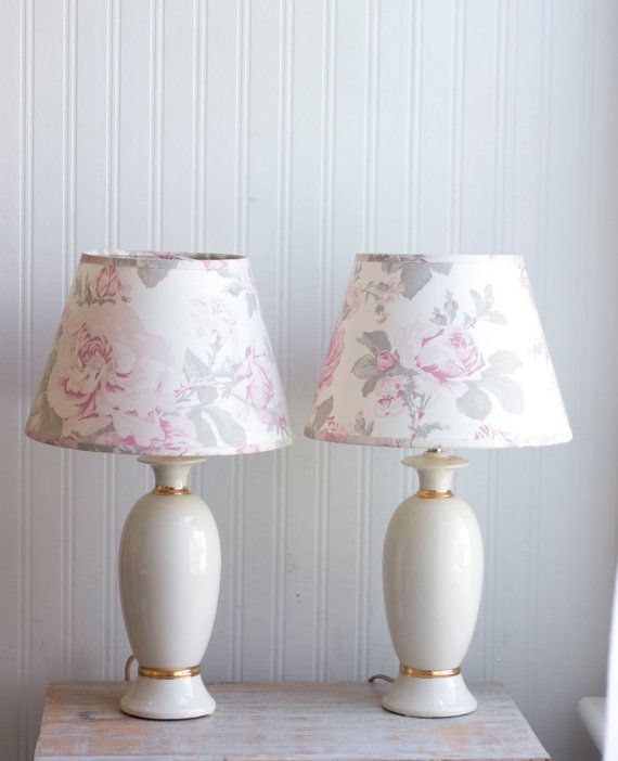 Vintage Bedroom Lamps Shabby Chic Ivory Gold Table By MollyFinds