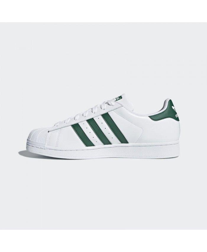online retailer f654b b52a6 Adidas Superstar Womens Trainers In White Collegiate Green