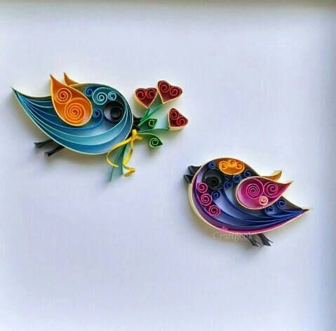 Love Birds, valentine birds, FREE SHIPPING, paper birds, love birds wall art, quilled paper art.