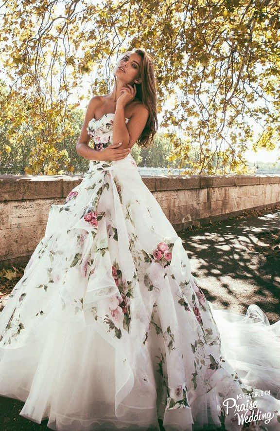 Gushing over this floral-inspired utterly romantic Alessandro Angelozzi gown!