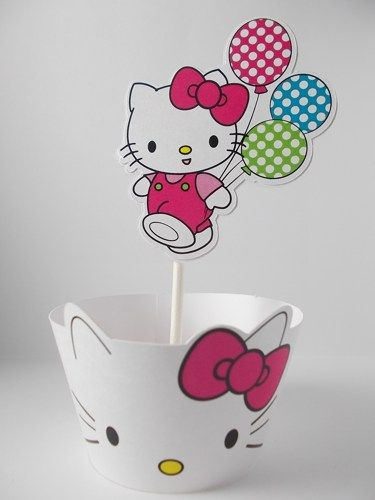 Hello Kitty Cupcake Wraps | Hello Kitty cupcake wrappers and cupcake toppers party decorations sup