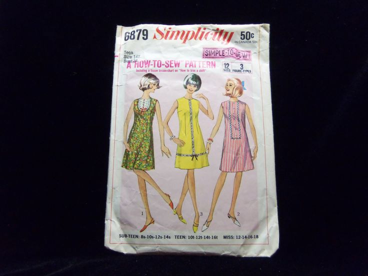 Teen How to Sew Dress Simplicity 6879 1960s sewing patterns retro clothing vintage clothing sewing mad men size 14T Bust 34