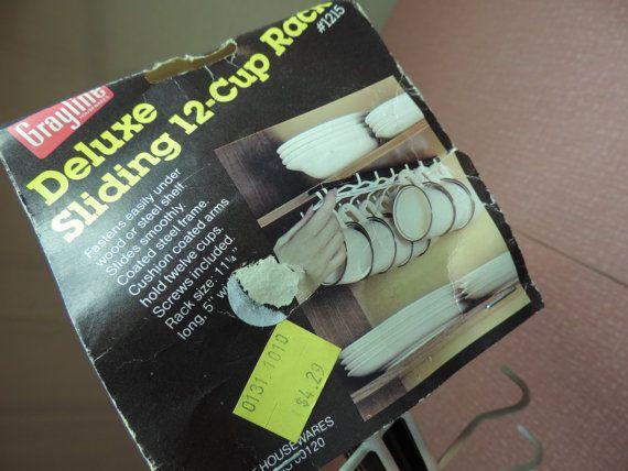 Vintage NOS Cup Rack Coffe Cup Storage Cup Slide Sliding Cup