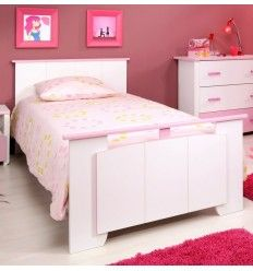 lit 120x200 cm cm en bois de couleur rose indien et blanc. Black Bedroom Furniture Sets. Home Design Ideas