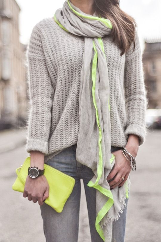 A Gap scarf and clutch as featured on the blog Thankfifi.
