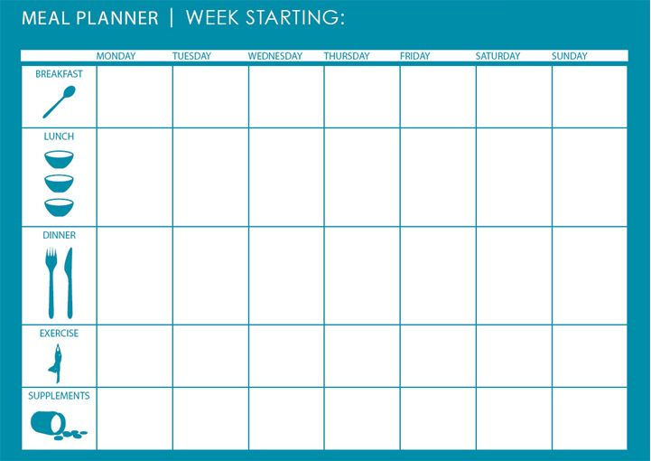 monthly weekly meal planner template