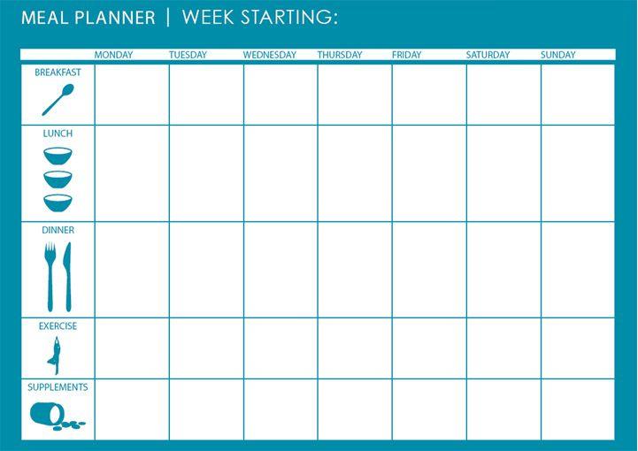 excel weekly meal planner