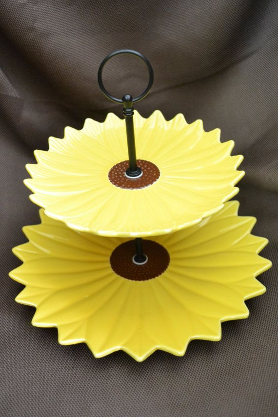 2 Tier Modern Sunflower Porcelain Cake Tea Stand Weddings, Tea Parties,  Showers, Display. Sunflower Themed KitchenWedding ...