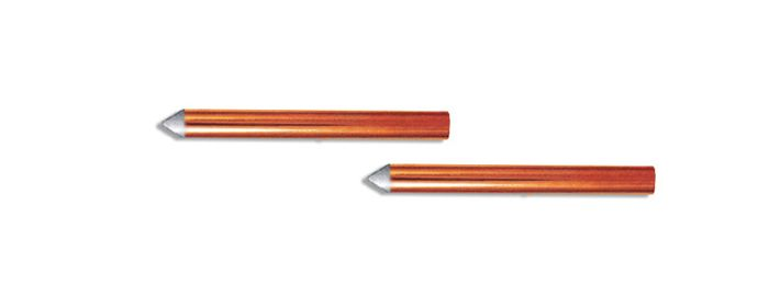 """Mechanically Claded / Coated Copper Grounding Rod  Mechanically Clad Coated copper coated grounding rod is made when electrolytic grade 99. 9% copper tube with wall thickness of 0. 25(250 microns) ks cladded to alow carbon steel rod.  Rod Size """"S""""Length 121200 (4 ft) 1800 (6 ft) 2400 (8 ft) 141200 (4 ft) 1800 (6 ft) 2400 (8 ft) 161200 (4 ft) 1800 (6 ft) 2400 (8 ft) 3000 (10 ft) 191200 (4 ft) 1800 (6 ft) 2400 (8 ft) 3000 (0 ft)"""
