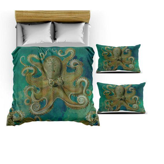 Octopus Bedding Duvet Cover Teal Green Watercolor Pillow