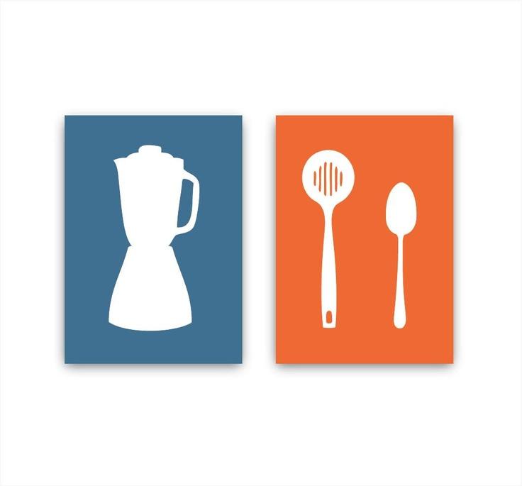 Modern Kitchen Art Set: Modern Kitchen Art Print Set