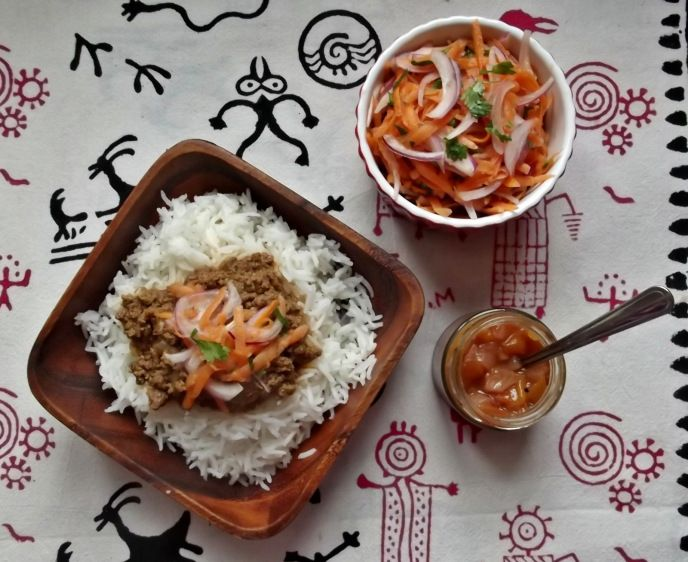 Cape Malay curry with carrot salad and blatjang