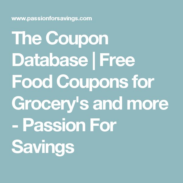 The Coupon Database | Free Food Coupons for Grocery's and more - Passion For Savings
