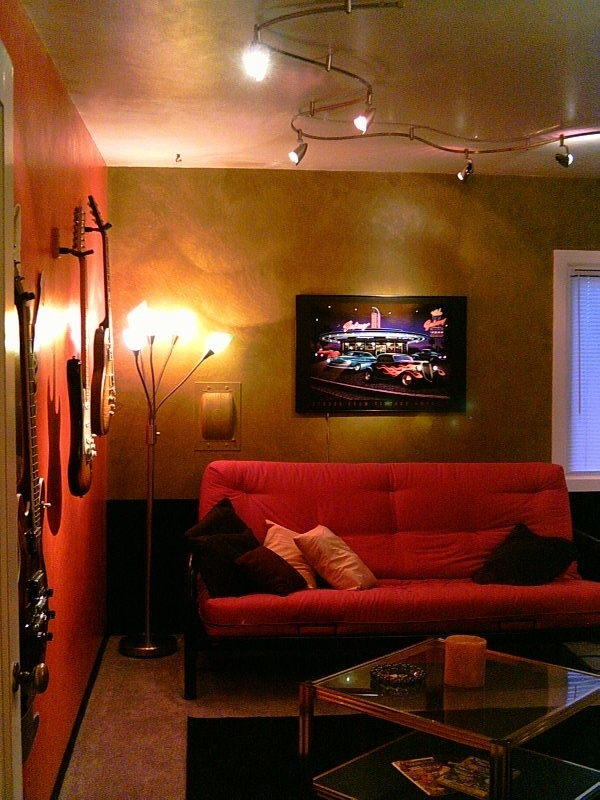 Low level lighting dark mood tv and