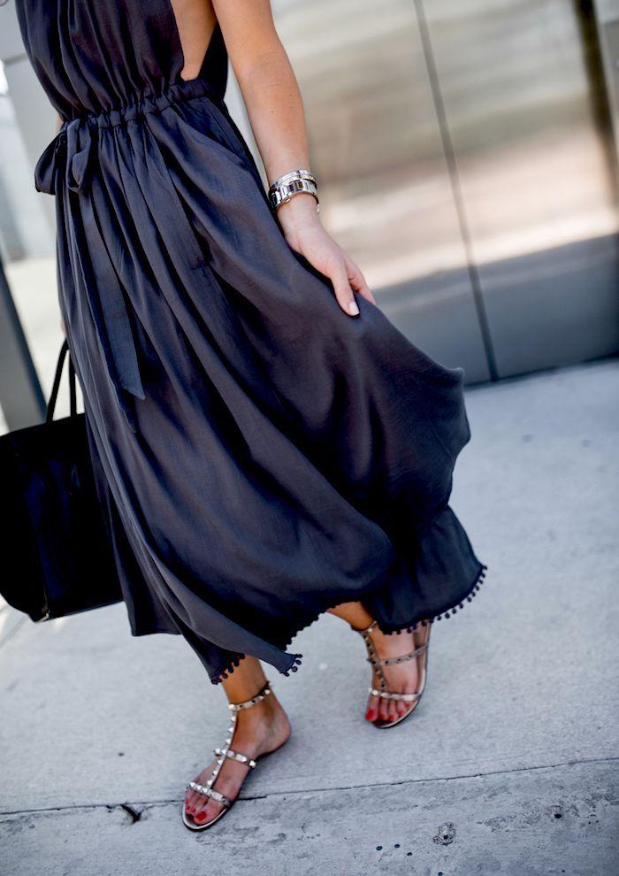 Navy blue maxi sleeveless dress with