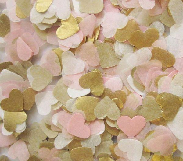 Freies schiff lot von 1000 baby rosa gold weiß seidenpapier herz konfetti hochzeit geburtstag party tischdekoration pinata füllstoffe