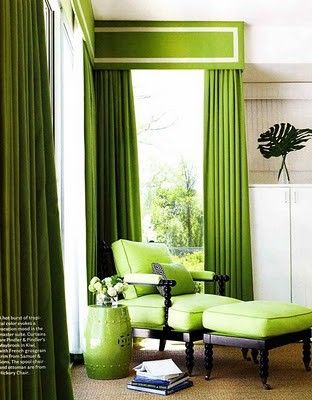 wouldn't do this color for sure, but love this window treatment for living room