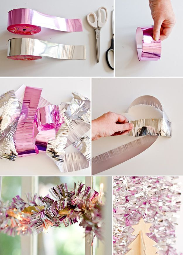 Make pink and silver streamers out of leftover wrapping ribbon. | 51 DIY Ways To Throw The Best New Year's PartyEver