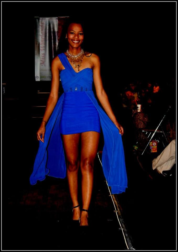 Royal blue one shoulder Grecian evening dress with train - R700