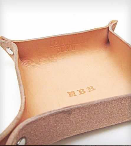 Monogrammed Leather Accessory Tray by Cicada Leather Company  on Scoutmob Shoppe