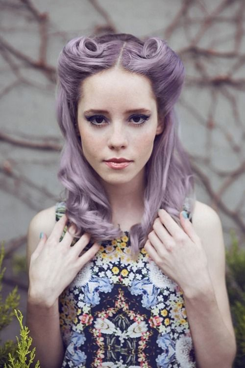 lavender hair, victory rolls, vintage hairstyle, floral dress, lilac hair, dyed hair