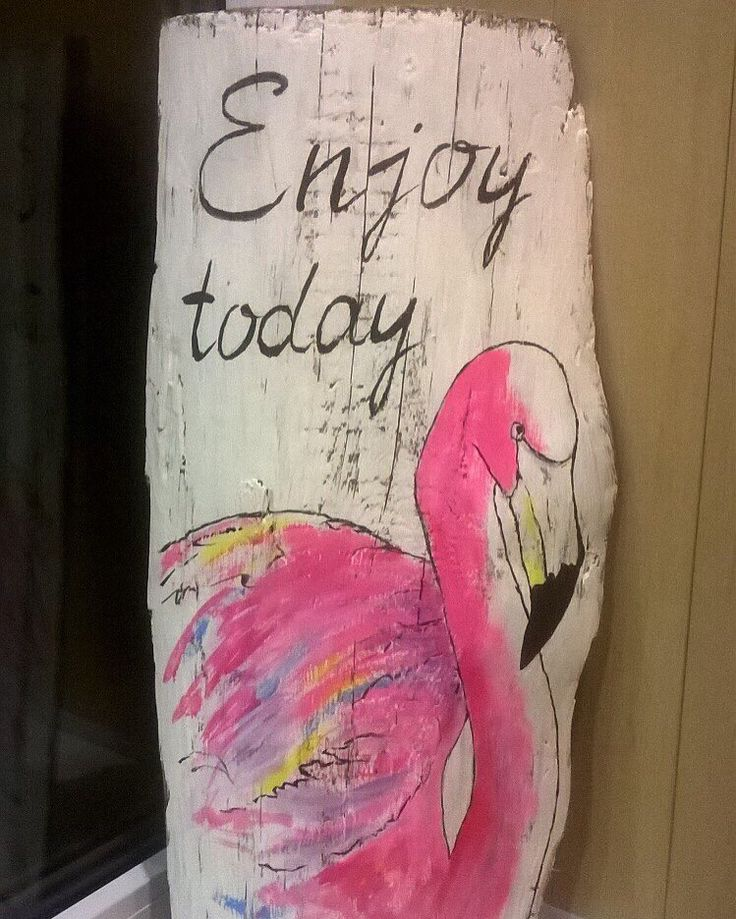 Доска белая 56х28 с надписью Enjoy today (с фламинго) Цена 520 грн