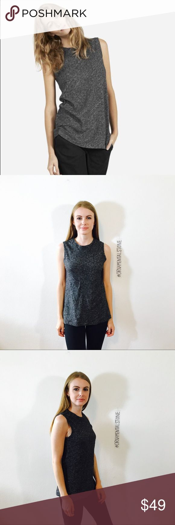 EVERLAND SWEATER HEATHERED MUSCLE TANK TOP #A92 EUC, like new, no issues. Charcoal heathered gray. Everlane Tops Tank Tops