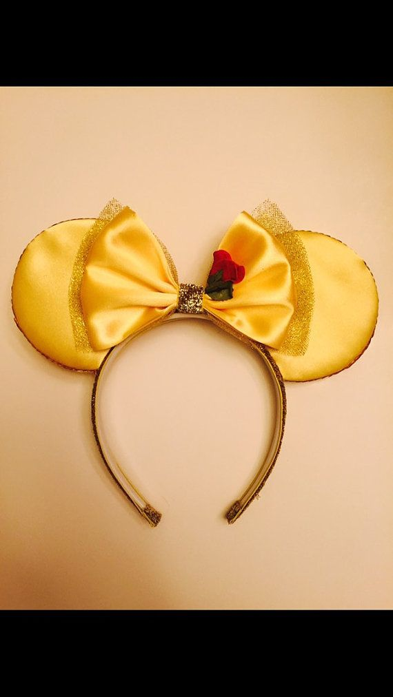 Belle Mickey Ears by OnceUponAStitch3 on Etsy