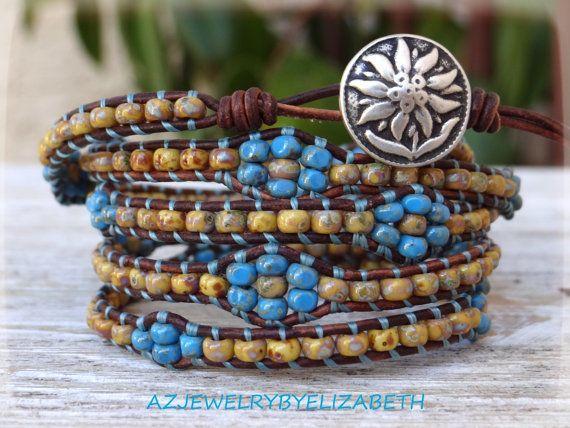 Sunflower Seed Bead Leather Wrap Bracelet by AZJEWELRYBYELIZABETH