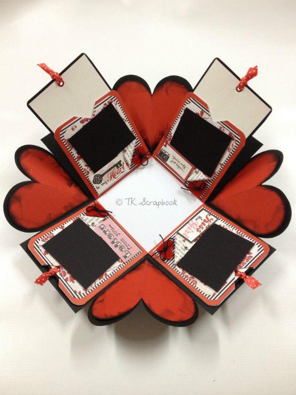 explosion cards and boxes | caixa explosion box scrapbook amor romântica