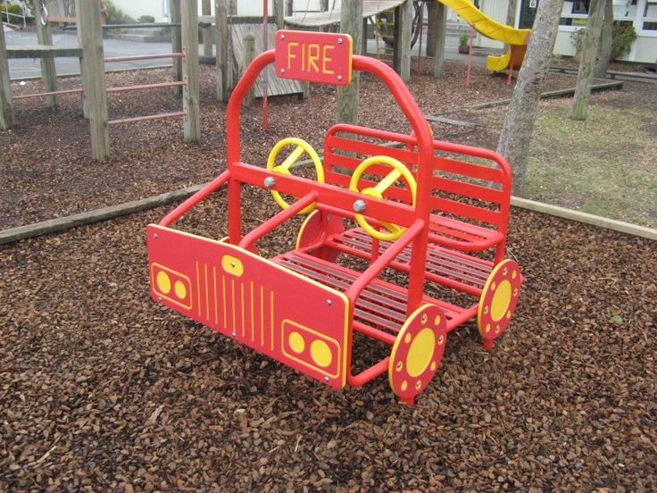 Keep the kids occupied for hours on this dual steer firetruck for two drivers.  Even room for some more fire-fighters on the back!  Available as fixed or springy models. #PlayGroundCentre #PlayArea #RecreationalSpace #Playground #Park #Play #Fun #RecreationalPark #RecreationalArea #FixedEquipment #ToddlersPlayEquipment #PreschoolPlayEquipment #ToddlersPlayPieces #PreschoolPlayPieces #DualSteerFireTruck