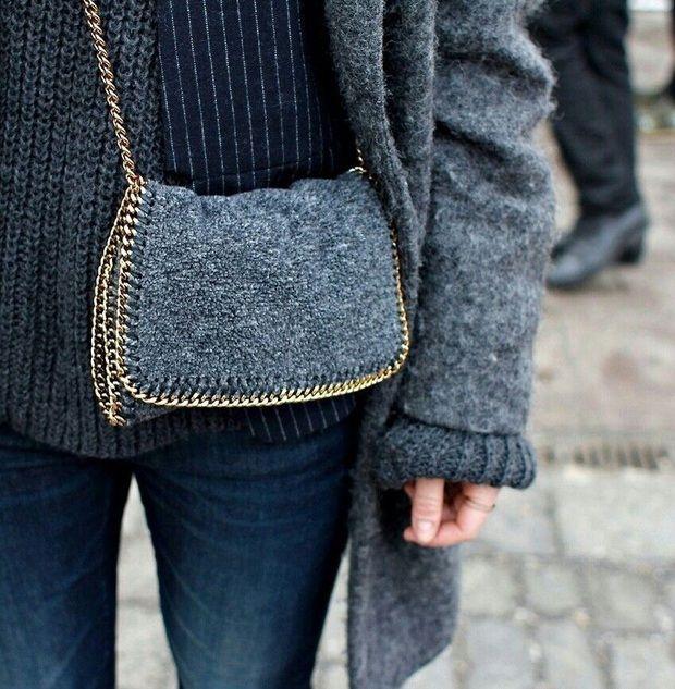 wool on wool - Stella McCartney Clutch - a bit of grey doesn't hurt either