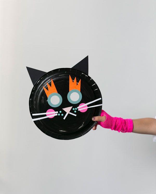 Cat & Pumpkin Paper Plate Masks for Halloween!