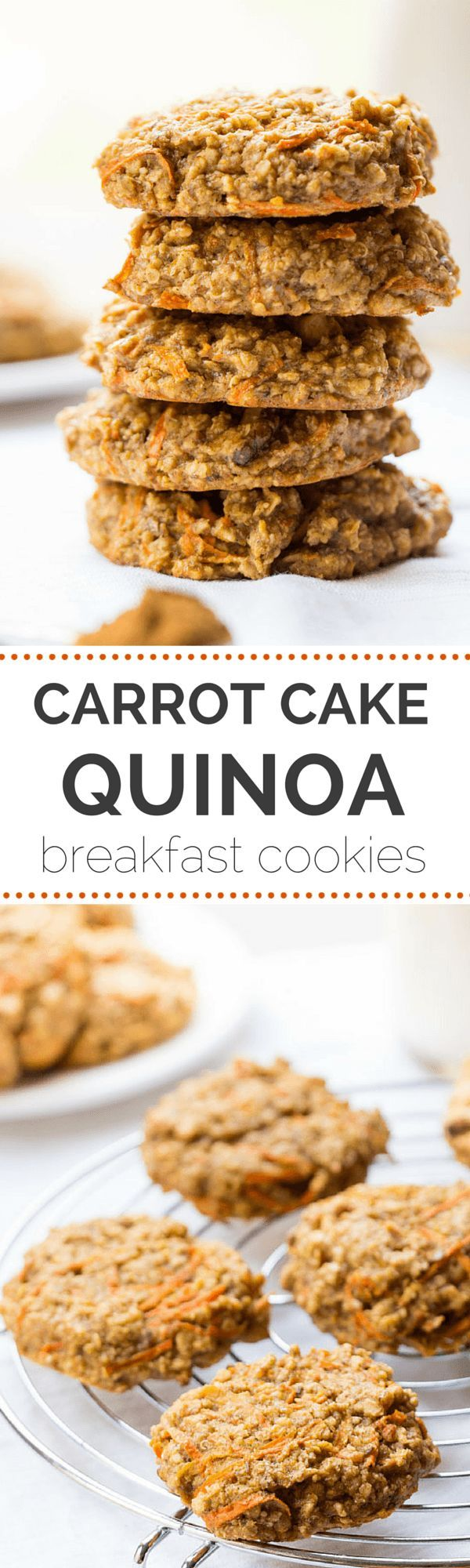 These AMAZING quinoa breakfast cookies taste just like carrot cake but are actually HEALTHY   gluten-free + vegan